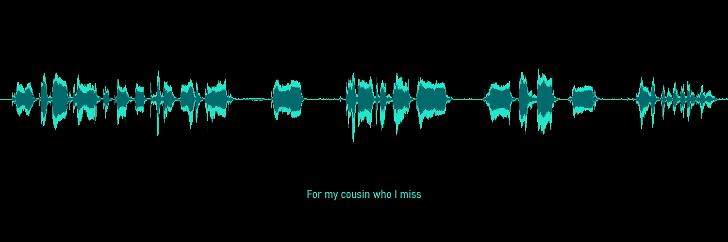 """""""For My Cousin Who I Miss"""" Quote under soundwave"""